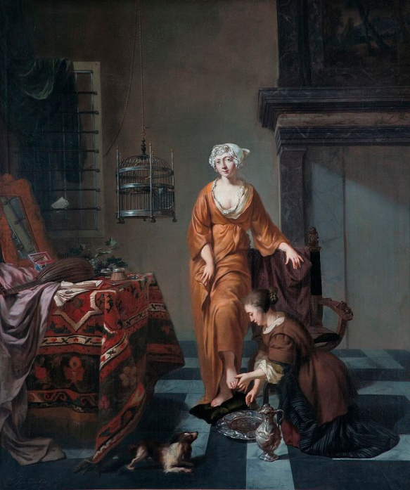 A Lady with a servant washing her feet (1690-1700) - Johannes Voorhout