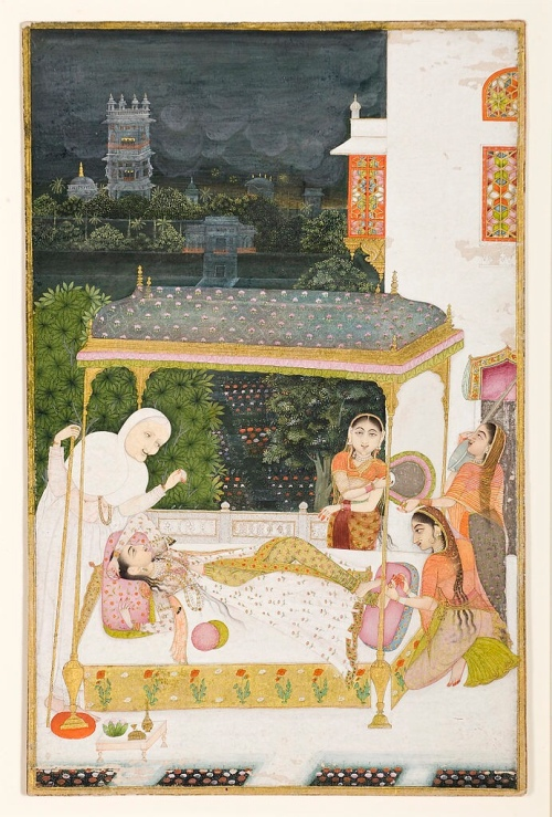 A young woman on a canopied bed... (1749) - Kasam, Son of Gul Muhammad