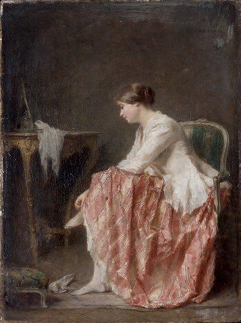 Jeune Femme délaçant ses chaussures (c. 1890) - Antoine-Émile Plassan