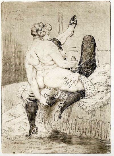 Drawing from the Her Faithful Servant series (c. 1870s) - Heinrich Lossow