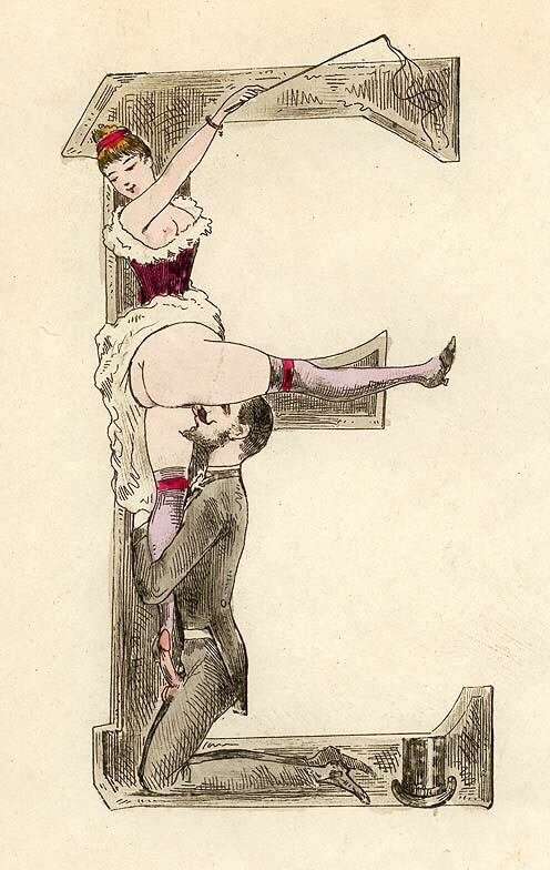 E [Letter from an erotic alphabet] (c. 1880) - Joseph Apoux