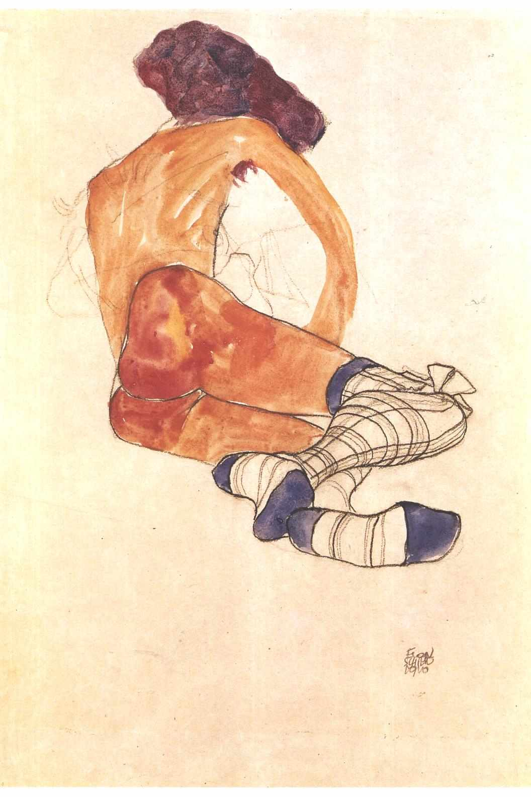 Seated female nude with blue garter (1910) - Egon Schiele