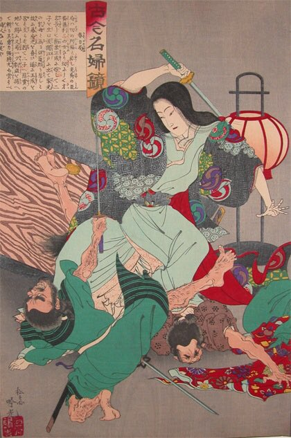 Kasuga no Tsubone [Lady Kasuga fighting a robber] (c. 1880) - Adachi Ginko