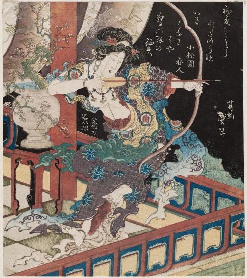 Goddess Drawing a Bow (c. 1832) - Katsushika Taito II