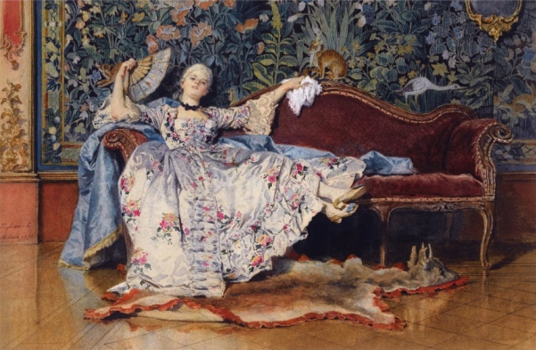 A Reclining Lady with a Fan (1876) - Eleuterio Pagliani