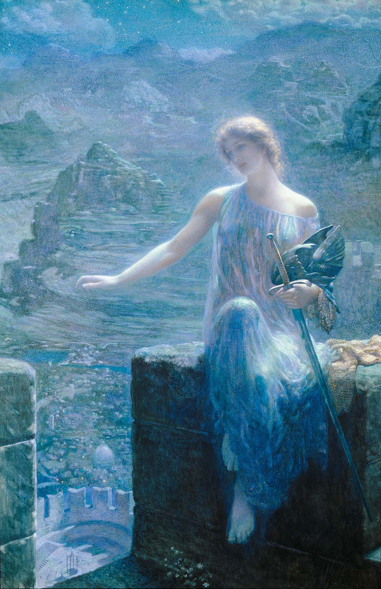 The Valkyrie's Vigil (c. 1910) - Edward Robert Hughes