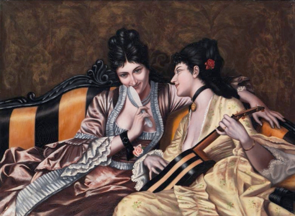 Two Ladies on a Sofa (1887) - Luis Ricardo Falero