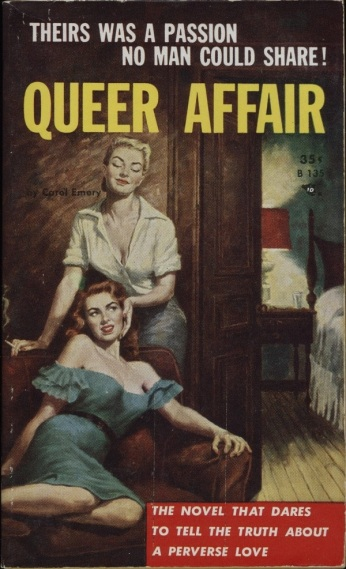 Cover_of_Queer_Affair_by_Carol_Emery_-_Illustration_by_Frank_Uppwall_-_Beacon_1957